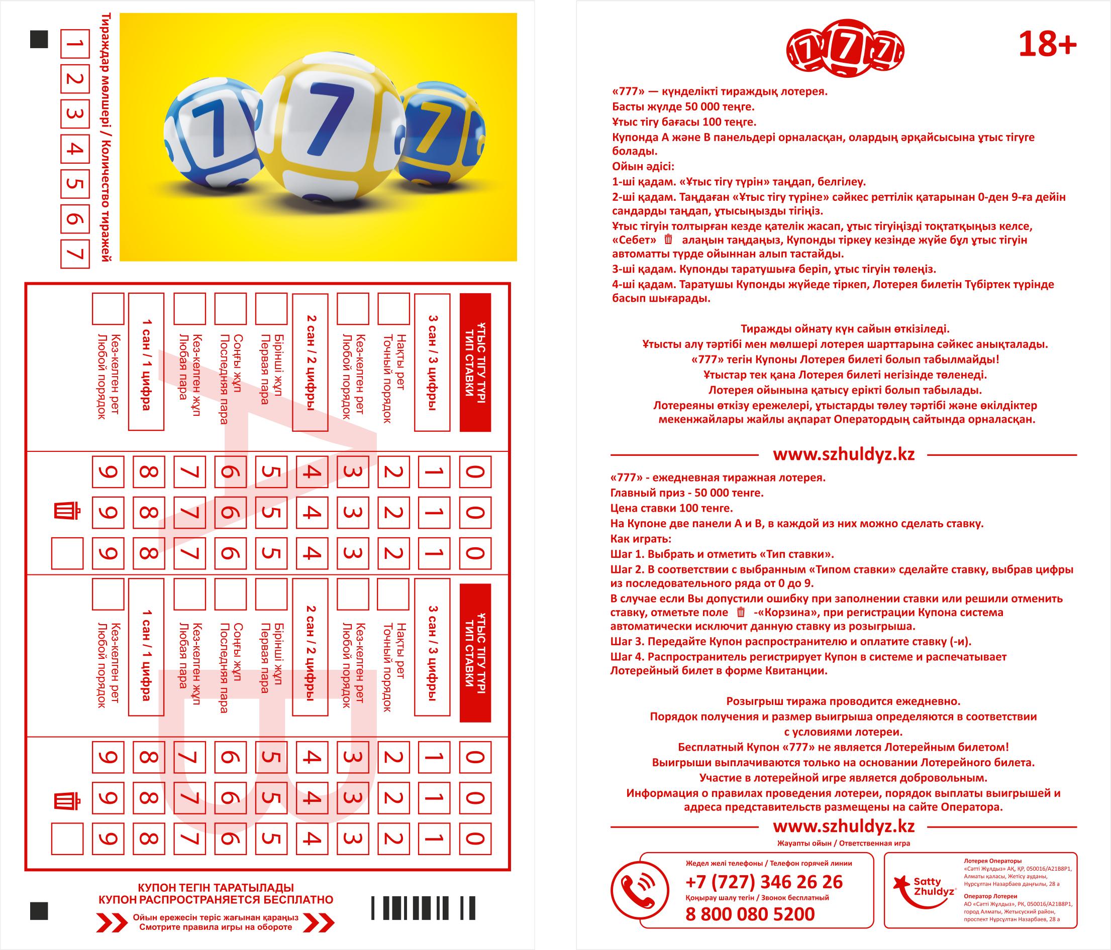 Билет лотереи ТВ Бинго